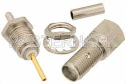 RT SMA Female Bulkhead Connector Crimp/Solder Attachment For RG178, RG196, .235 inch D Hole