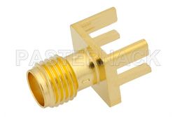 RT SMA Female Connector Solder Attachment .062 inch End Launch PCB, .030 inch Diameter