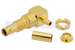 1.0/2.3 Jack Right Angle Bulkhead Connector Crimp/Solder Attachment For RG174, RG316, RG188, .236 inch DD Hole