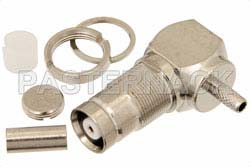 75 Ohm 1.6/5.6 Jack Right Angle Bulkhead Connector Crimp/Solder Attachment For RG179, RG187, .362 inch DD Hole