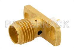 SMA Female Connector Compression Attachment 2 Hole Flange Mount Stub Terminal, .481 inch Hole Spacing