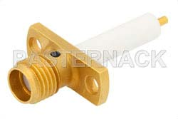 SMA Female Connector Solder Attachment 2 Hole Flange Mount Stub Terminal, .481 inch Hole Spacing, Up to 27 GHz