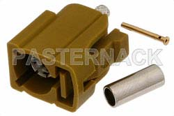 FAKRA Jack Connector Crimp/Solder Attachment for RG174, RG316, RG188, .100 inch, PE-B100, PE-C100, LMR-100, Curry Color