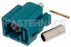 FAKRA Jack Connector Crimp/Solder Attachment for RG174, RG316, RG188, .100 inch, PE-B100, PE-C100, LMR-100, Water Blue Color