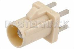 FAKRA Plug Connector Solder Attachment Thru Hole PCB, Beige Color