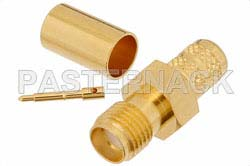 RP SMA Female Connector Crimp/Solder Attachment for PE-C240, RG8X, 0.240 inch, LMR-240, LMR-240-DB, LMR-240-UF, B7808A