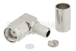 RP SMA Male Right Angle Connector Crimp/Solder Attachment for RG55, RG141, RG142, RG223, RG400