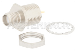 SMA Female Bulkhead Mount Connector Solder Attachment Solder Cup Terminal, .350 inch D Hole