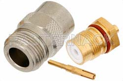N Female Connector Solder Attachment for PE-SR405AL, PE-SR405FL, PE-SR405FLJ, RG405
