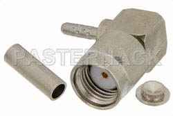 RP SMA Male Right Angle Connector Crimp/Solder Attachment For RG178, RG196