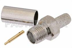 RP SMA Female Connector Crimp/Solder Attachment for RG55, RG141, RG142, RG223, RG400