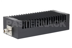 High Power 200 Watt RF Load Up to 3 GHz With N Female Input High Power Black Anodized Aluminum Heatsink