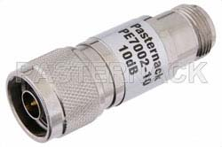 10 dB Fixed Attenuator, N Male to N Female Brass Nickel Body Rated to 1 Watt Up to 3 GHz