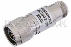 20 dB Fixed Attenuator, N Male to N Female Brass Nickel Body Rated to 1 Watt Up to 3 GHz