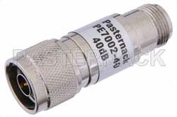 40 dB Fixed Attenuator, N Male to N Female Brass Nickel Body Rated to 1 Watt Up to 3 GHz