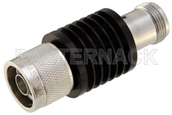 10 dB Fixed Attenuator, N Male to N Female Black Anodized Aluminum Heatsink Body Rated to 10 Watts Up to 2 GHz