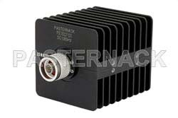 10 dB Fixed Attenuator, N Male to N Female Black Anodized Aluminum Heatsink Body Rated to 25 Watts Up to 18 GHz