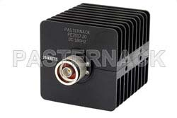 20 dB Fixed Attenuator, N Male to N Female Black Anodized Aluminum Heatsink Body Rated to 25 Watts Up to 18 GHz