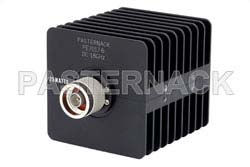 6 dB Fixed Attenuator, N Male to N Female Black Anodized Aluminum Heatsink Body Rated to 25 Watts Up to 18 GHz