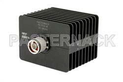 30 dB Fixed Attenuator, N Male to N Female Directional Black Anodized Aluminum Heatsink Body Rated to 50 Watts Up to 18 GHz