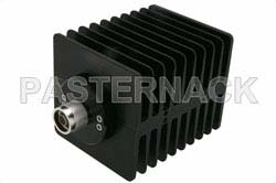 30 dB Fixed Attenuator, N Male to N Female Directional Black Anodized Aluminum Heatsink Body Rated to 100 Watts Up to 1.5 GHz