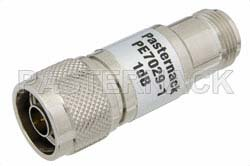 1 dB Fixed Attenuator, 75 Ohm N Male to 75 Ohm N Female Brass Nickel Body Rated to 1 Watt Up to 1,000 MHz