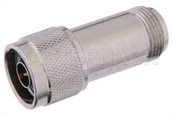 4 dB Fixed Attenuator, N Male to N Female Passivated Stainless Steel Body Rated to 2 Watts Up to 18 GHz