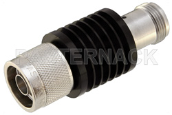 6 dB Fixed Attenuator, N Male to N Female Black Anodized Aluminum Heatsink Body Rated to 10 Watts Up to 12.4 GHz