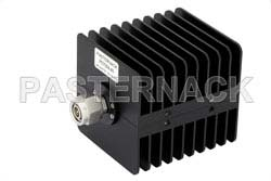 40 dB Fixed Attenuator, TNC Male to TNC Female Black Anodized Aluminum Heatsink Body Rated to 25 Watts Up to 18 GHz