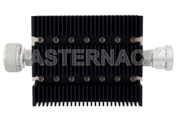 10 dB Fixed Attenuator, 7/16 DIN Male To 7/16 DIN Female Directional Black Anodized Aluminum Heatsink Body Rated To 100 Watts Up To 6 GHz