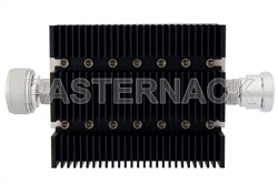 30 dB Fixed Attenuator, 7/16 DIN Male To 7/16 DIN Female Directional Black Anodized Aluminum Heatsink Body Rated To 100 Watts Up To 6 GHz