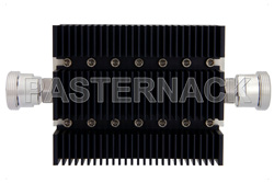 40 dB Fixed Attenuator, 7/16 DIN Female To 7/16 DIN Female Directional Black Anodized Aluminum Heatsink Body Rated To 100 Watts Up To 6 GHz