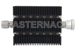 10 dB Fixed Attenuator, N Male To 7/16 DIN Female Directional Black Anodized Aluminum Heatsink Body Rated To 100 Watts Up To 6 GHz