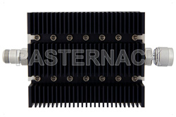 10 dB Fixed Attenuator, N Female To N Male Directional Black Anodized Aluminum Heatsink Body Rated To 100 Watts Up To 6 GHz