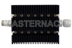 3 dB Fixed Attenuator, N Female To N Male Directional Black Anodized Aluminum Heatsink Body Rated To 100 Watts Up To 6 GHz