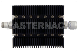 30 dB Fixed Attenuator, N Female To N Male Directional Black Anodized Aluminum Heatsink Body Rated To 100 Watts Up To 6 GHz
