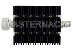 20 dB Fixed Attenuator, 7/16 DIN Male To N Female Directional Black Anodized Aluminum Heatsink Body Rated To 100 Watts Up To 6 GHz