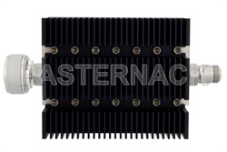 50 dB Fixed Attenuator, 7/16 DIN Male To N Female Directional Black Anodized Aluminum Heatsink Body Rated To 100 Watts Up To 6 GHz