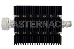 6 dB Fixed Attenuator, 7/16 DIN Male To N Female Directional Black Anodized Aluminum Heatsink Body Rated To 100 Watts Up To 6 GHz