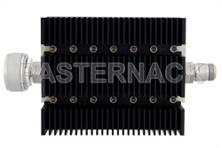 60 dB Fixed Attenuator, 7/16 DIN Male To N Female Directional Black Anodized Aluminum Heatsink Body Rated To 100 Watts Up To 6 GHz