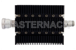 40 dB Fixed Attenuator, 7/16 DIN Female To N Female Directional Black Anodized Aluminum Heatsink Body Rated To 100 Watts Up To 6 GHz