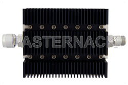 50 dB Fixed Attenuator, N Male To N Female Directional Black Anodized Aluminum Heatsink Body Rated To 100 Watts Up To 6 GHz