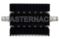 50 dB Fixed Attenuator, TNC Male To N Female Directional Black Anodized Aluminum Heatsink Body Rated To 100 Watts Up To 6 GHz