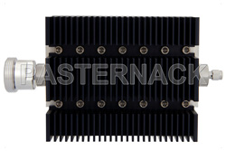 40 dB Fixed Attenuator, 7/16 DIN Female To SMA Male Directional Black Anodized Aluminum Heatsink Body Rated To 100 Watts Up To 6 GHz