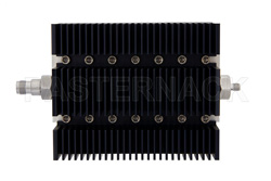 50 dB Fixed Attenuator, TNC Female To SMA Female Directional Black Anodized Aluminum Heatsink Body Rated To 100 Watts Up To 6 GHz