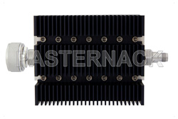 40 dB Fixed Attenuator, 7/16 DIN Male To TNC Female Directional Black Anodized Aluminum Heatsink Body Rated To 100 Watts Up To 6 GHz