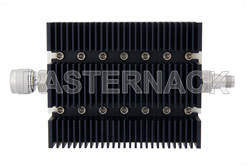 30 dB Fixed Attenuator, N Male To TNC Female Directional Black Anodized Aluminum Heatsink Body Rated To 100 Watts Up To 6 GHz