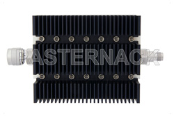 50 dB Fixed Attenuator, N Male To TNC Female Directional Black Anodized Aluminum Heatsink Body Rated To 100 Watts Up To 6 GHz