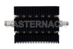 40 dB Fixed Attenuator, N Female To TNC Female Directional Black Anodized Aluminum Heatsink Body Rated To 100 Watts Up To 6 GHz
