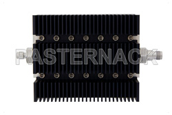 10 dB Fixed Attenuator, SMA Male To TNC Female Directional Black Anodized Aluminum Heatsink Body Rated To 100 Watts Up To 6 GHz